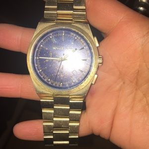 Gold and blue Michael kors watch